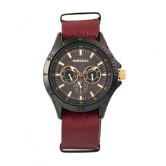 Breed Dixon Leather-Band Watch w/Day/Date - Black/Red