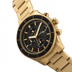 Breed Maverick Chronograph Leather-Band Watch w/Date - Gold/Black - GENT.ONE