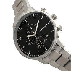 Breed Holden Chronograph Bracelet Watch w/ Date - Silver/Black