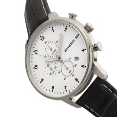 Breed Holden Chronograph Leather-Band Watch w/ Date - Silver