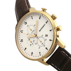Breed Holden Chronograph Leather-Band Watch w/ Date - Gold/Brown