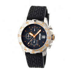 Breed Socrates Chronograph Men's Watch w/ Date  -  Silver/Orange