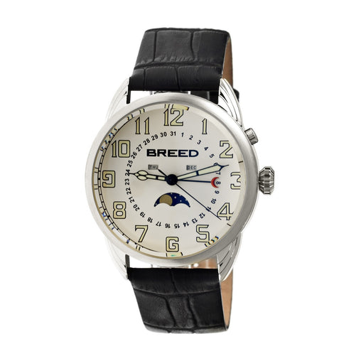 Breed Alton Leather-Band Moon-Phase Men's Watch  -  Silver/White