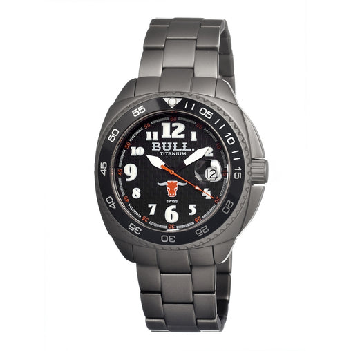 Bull Titanium Matador Men's Swiss Bracelet Watch - Black