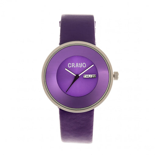 Crayo Button Leather-Band Unisex Watch w/ Day/Date - Purple