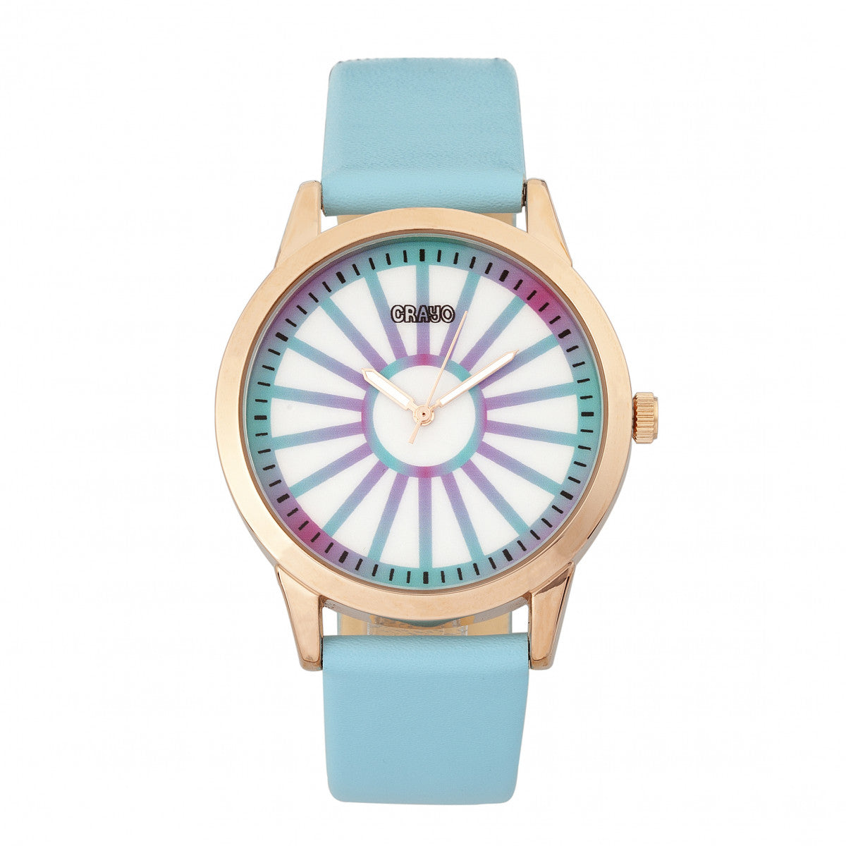 Crayo Electric Leatherette Strap Watch - Light Blue
