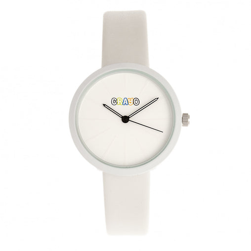Crayo Blade Leatherette Strap Watch - White