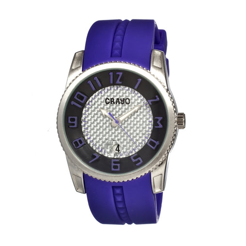 Crayo Rugged Men's Watch w/ Magnified Date - Purple