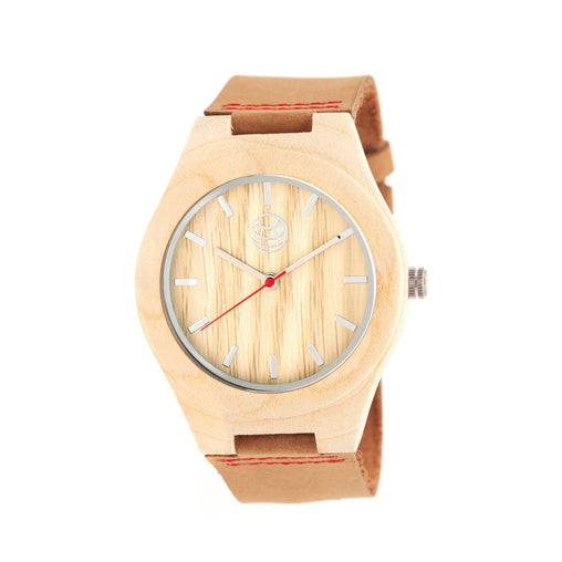 Earth Wood Aztec Leather-Band Watch - Khaki/Tan