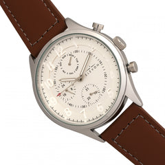 Elevon Lindbergh Leather-Band Watch w/Day/Date -  Brown/White