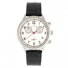 Elevon Antoine Chronograph Leather-Band Watch w/Date - Black/Silver