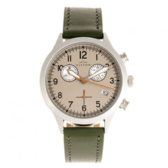 Elevon Antoine Chronograph Leather-Band Watch w/Date - Olive/Pewter