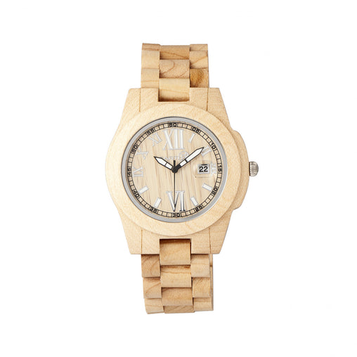 Earth Wood Heartwood Bracelet Watch w/Date - Khaki/Tan