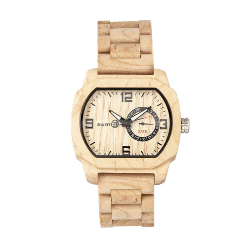 Earth Wood Scaly Bracelet Watch w/Date - Khaki/Tan