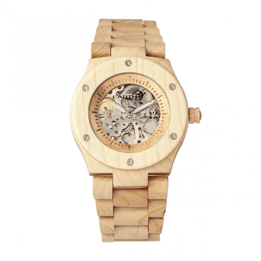 Earth Wood Grand Mesa Automatic Skeleton Bracelet Watch - Khaki/Tan