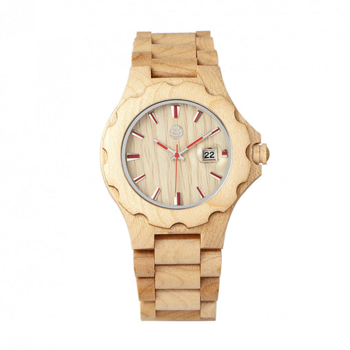 Earth Wood Gila Bracelet Watch w/Magnified Date - Khaki/Tan