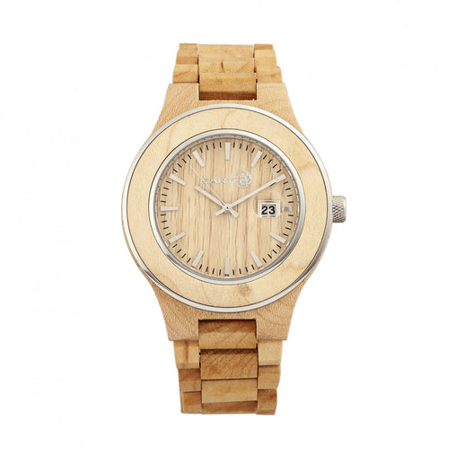 Earth Wood Cherokee Bracelet Watch w/Magnified Date - Khaki/Tan