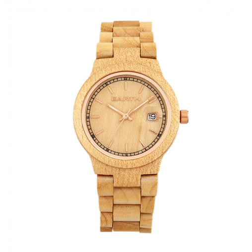 Earth Wood Biscayne Bracelet Watch w/Date - Khaki/Tan