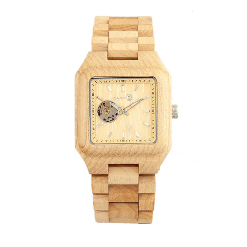 Earth Wood Black Rock Automatic Bracelet Watch - Khaki/Tan