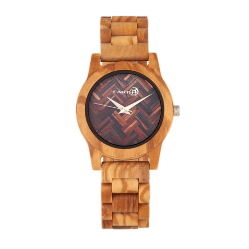 Earth Wood Crown Bracelet Watch - Khaki/Tan