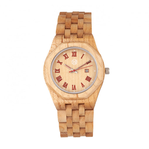 Earth Wood Baobab Bracelet Watch w/Date - Khaki/Tan