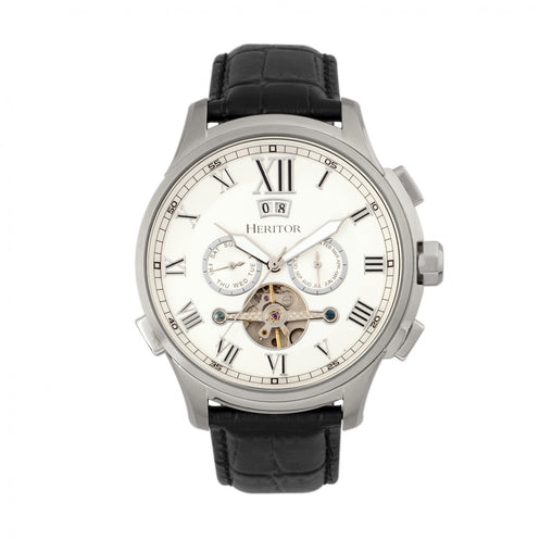 Heritor Automatic Hudson Semi-Skeleton Leather-Band Watch w/Day/Date - Black/White