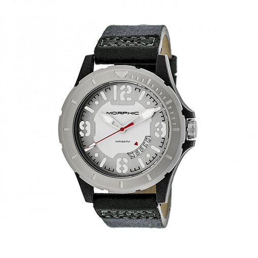 Morphic M47 Series Canvas-Overlaid Leather-Band Watch w/ Date - Grey/White