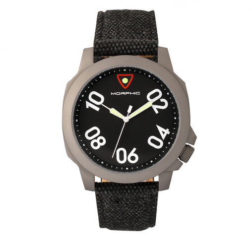Morphic M41 Series Canvas-Overlaid Leather-Band Men's Watch - Black