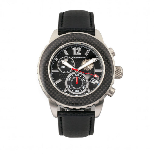 Morphic M51 Series Chronograph Leather-Band Watch w/Date - Silver/Black