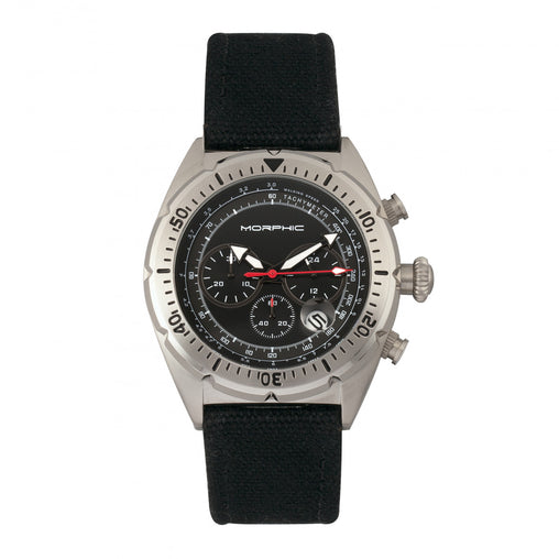 Morphic M53 Series Chronograph Fiber-Weaved Leather-Band Watch w/Date - Silver/Black