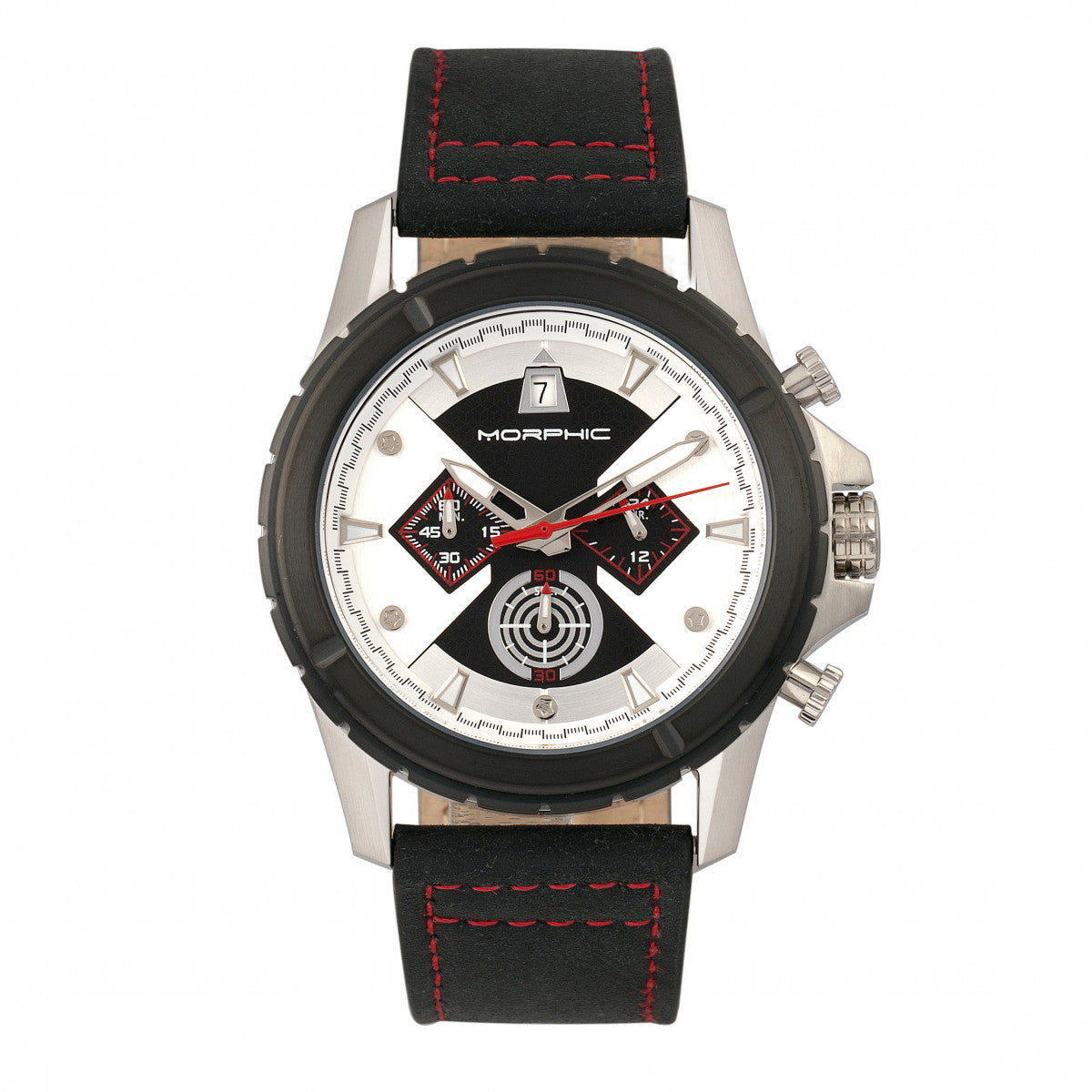 Morphic M57 Series Chronograph Leather-Band Watch - Silver/Black