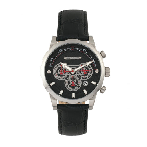 Morphic M60 Series Chronograph Leather-Band Watch w/Date - Silver/Black