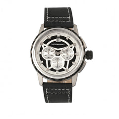 Morphic M61 Series Chronograph Leather-Band Watch w/Date - Silver/Black