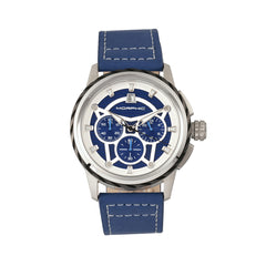 Morphic M61 Series Chronograph Leather-Band Watch w/Date - Silver/Blue