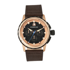 Morphic M61 Series Chronograph Leather-Band Watch w/Date - Rose Gold/Dark Brown