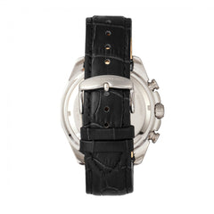 Morphic M66 Series Skeleton Dial Leather-Band Watch w/ Day/Date - Silver/Black