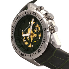 Morphic M66 Series Skeleton Dial Leather-Band Watch w/ Day/Date - Silver/Forest Green
