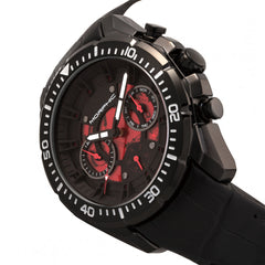 Morphic M66 Series Skeleton Dial Leather-Band Watch w/ Day/Date - Black