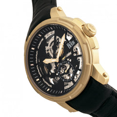 Reign Matheson Automatic Skeleton Dial Leather-Band Watch - Black/Gold