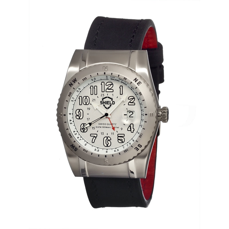 Shield Nuno Leather-Band Swiss Men's Diver Watch - Silver