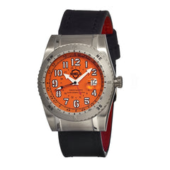 Shield Nuno Leather-Band Swiss Men's Diver Watch - Silver/Orange