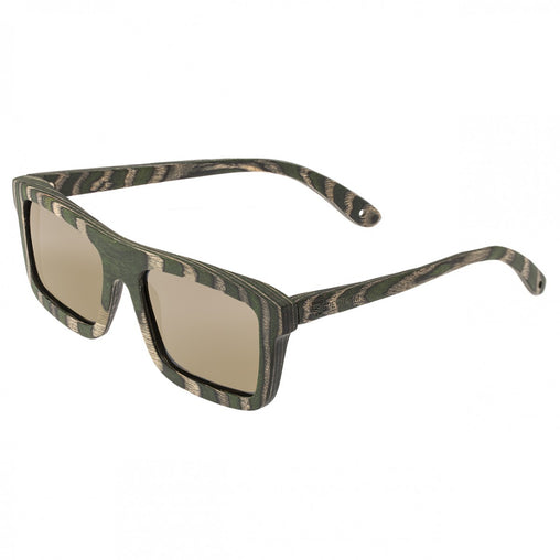 Spectrum Garcia Wood Polarized Sunglasses - Green Zebra/Gold