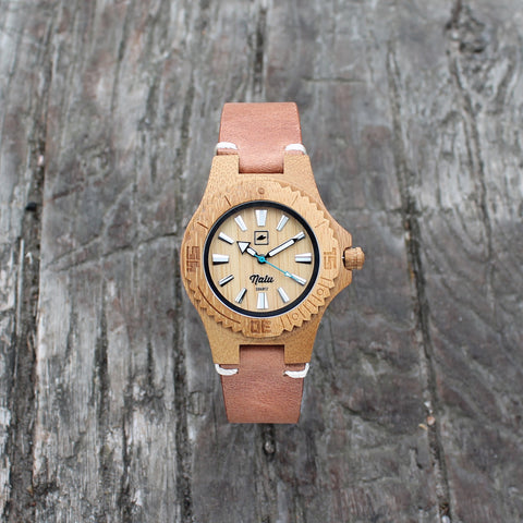 NALU SMALL LEATHER - Carbonised Bamboo Watch