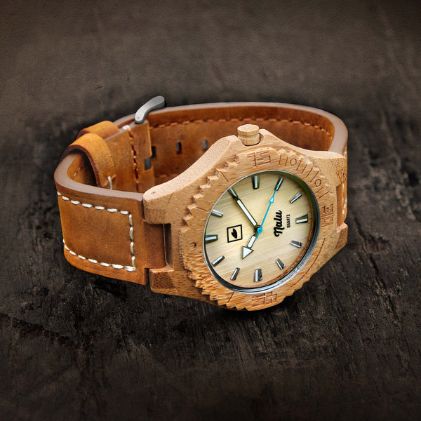 NALU ORIGINAL LEATHER- Carbonised Bamboo Watch