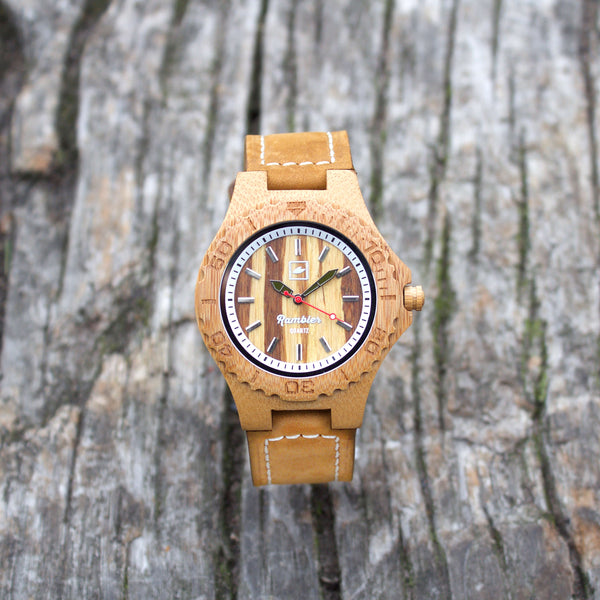 RAMBLER ORIGINAL LEATHER - Tiger Bamboo Watch