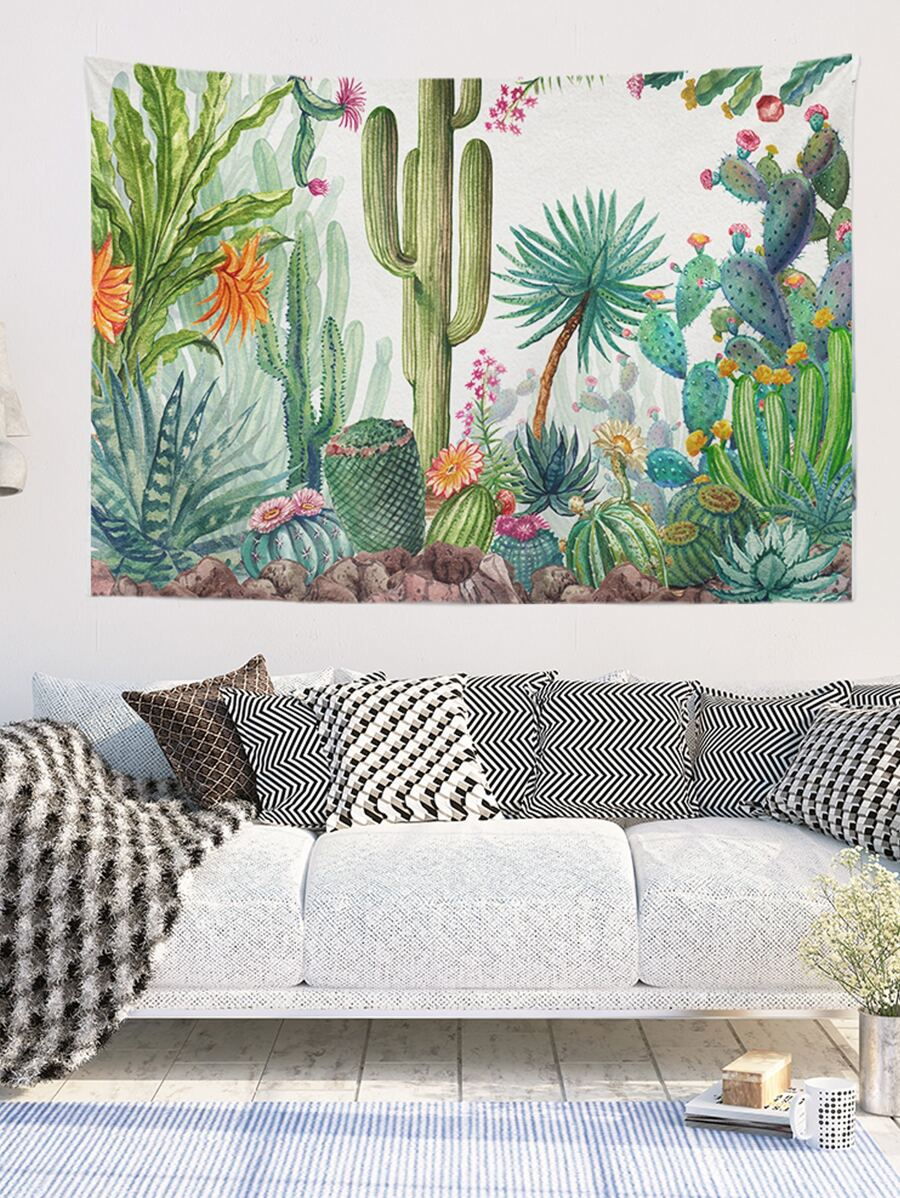 Green Cactus Tapestry