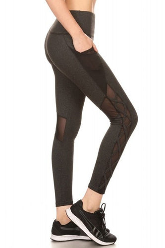 Charcoal Criss Cross Active Leggings - XLarge