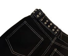 Load image into Gallery viewer, Belted Detail Black Pants - SMALL & MEDIUM