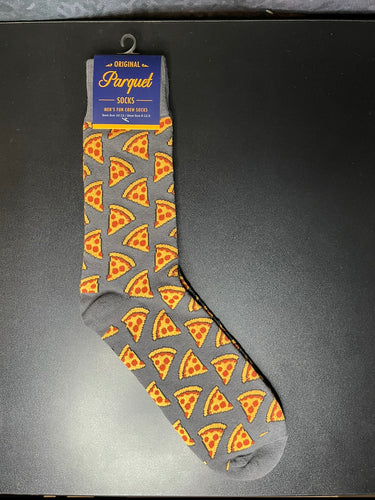 Grey Pizza Mens Crew Socks