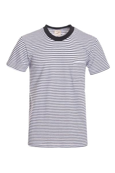 White and Black Striped Tee Shirt